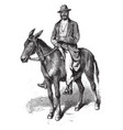 man on mule vintage vector image vector image
