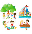 many children playing and doing different vector image vector image
