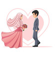 muslim bride and groom looking at each other vector image