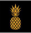 pineapple golden with leaf tropical gold exotic vector image vector image