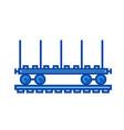 railroad flat car line icon vector image vector image