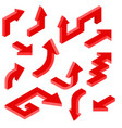 red arrows isometric set of 3d icons vector image vector image