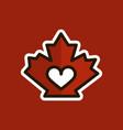 red canadian maple leaf heart inside love logo vector image