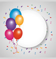 round badge blank with bunch balloons decoration vector image vector image