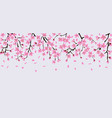 sakura tree flower branches with realistic pink vector image vector image