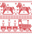 Scandinavian seamless nordic pattern with horse vector image vector image