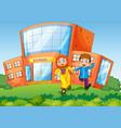 school scene with two muslim kids vector image vector image