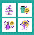 set of greeting cards for halloween trick vector image