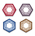 set of traditional chinese hexagon window frame vector image vector image