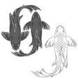 set of with a mirror koi carp vector image vector image