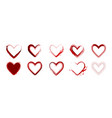 set watercolor red heart shape isolated vector image