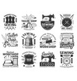 sewing and tailor icons retro emblems set vector image