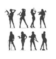 sexy construction women silhouette set vector image