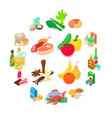 shop navigation foods icons set isometric style vector image vector image