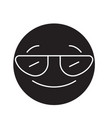 smiling emoji with sunglasses black concep vector image