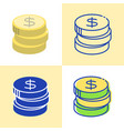 stack coins icon set in flat and line style vector image