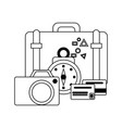 travel and vacations in black and white vector image vector image