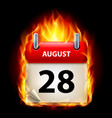 twenty-eighth august in calendar burning icon on vector image vector image