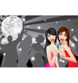 Two women smiling with beverage glasses in a night vector image vector image