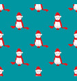 white santa cat with red scarf on blue background vector image