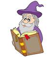 wizard reading magic book vector image