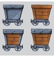 wooden mine cart set vector image vector image