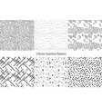 set of monochrome geometric patterns seamless vector image