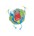 angry cartoon earth planet character lightning vector image vector image