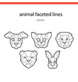 animal faces of the line vector image