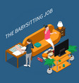 babysitter isometric composition vector image vector image