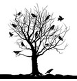 birds over tree forest landscape wild nature vector image vector image