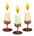 Burning candles in the candleholders vector image