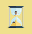 businessman be trapped in hourglass vector image vector image