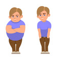 cartoon fat full and sports boy vector image vector image