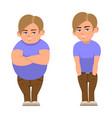 cartoon fat full and sports boy vector image