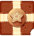 Christmas chocolate box with badge and ribbon vector image