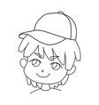 coloring page outline of portrait cartoon cute vector image vector image