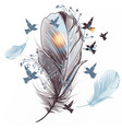 elegant feather with birds vector image vector image
