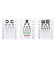 eye test charts set vector image