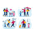 family leisure and holiday party flat set vector image vector image
