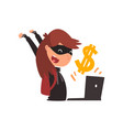 female hacker in black mask stealing money using vector image vector image