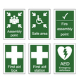 First Aid and Assembly Signs vector image