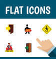 flat icon exit set of entry emergency direction vector image vector image