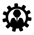 gear with a businessman icon vector image