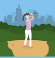 golf player cartoon vector image
