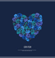 greeting card with blue floral garland vector image vector image
