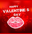 happy valentines day typographic and red vintage vector image