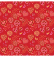 Heart and flowers seamless pattern vector image