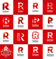 large set of logo letter R vector image vector image