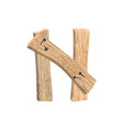 letter n wood board font plank and nails alphabet vector image